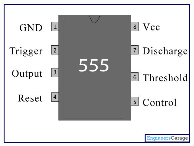 555 Timer PinOut | IC 555 | NE555 pin diagram