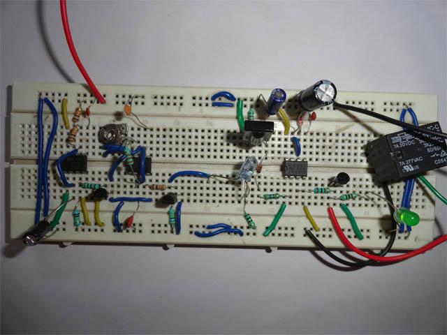 Prototype Of Wash Basin Tap Controller circuit On breadboard