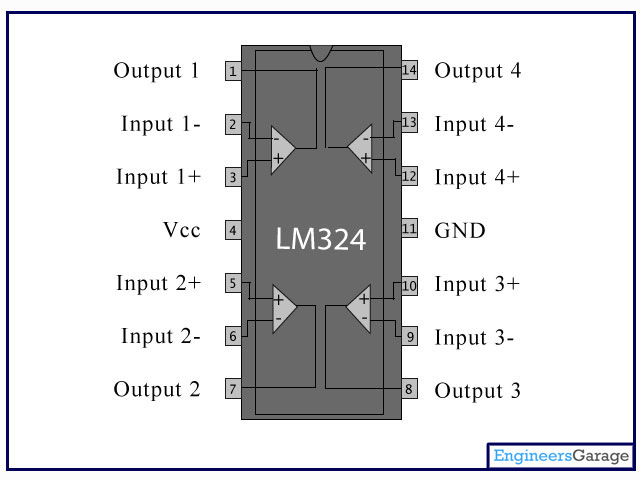 LM324 PinOut | LM324N pin diagram