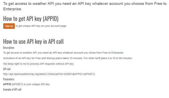 OpenWeatherMap API Subscription