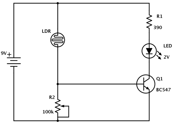 making a light detector using ldr circuit diagram engineersgarage rh engineersgarage com circuit diagram d290 nespresso circuit diagram drawer