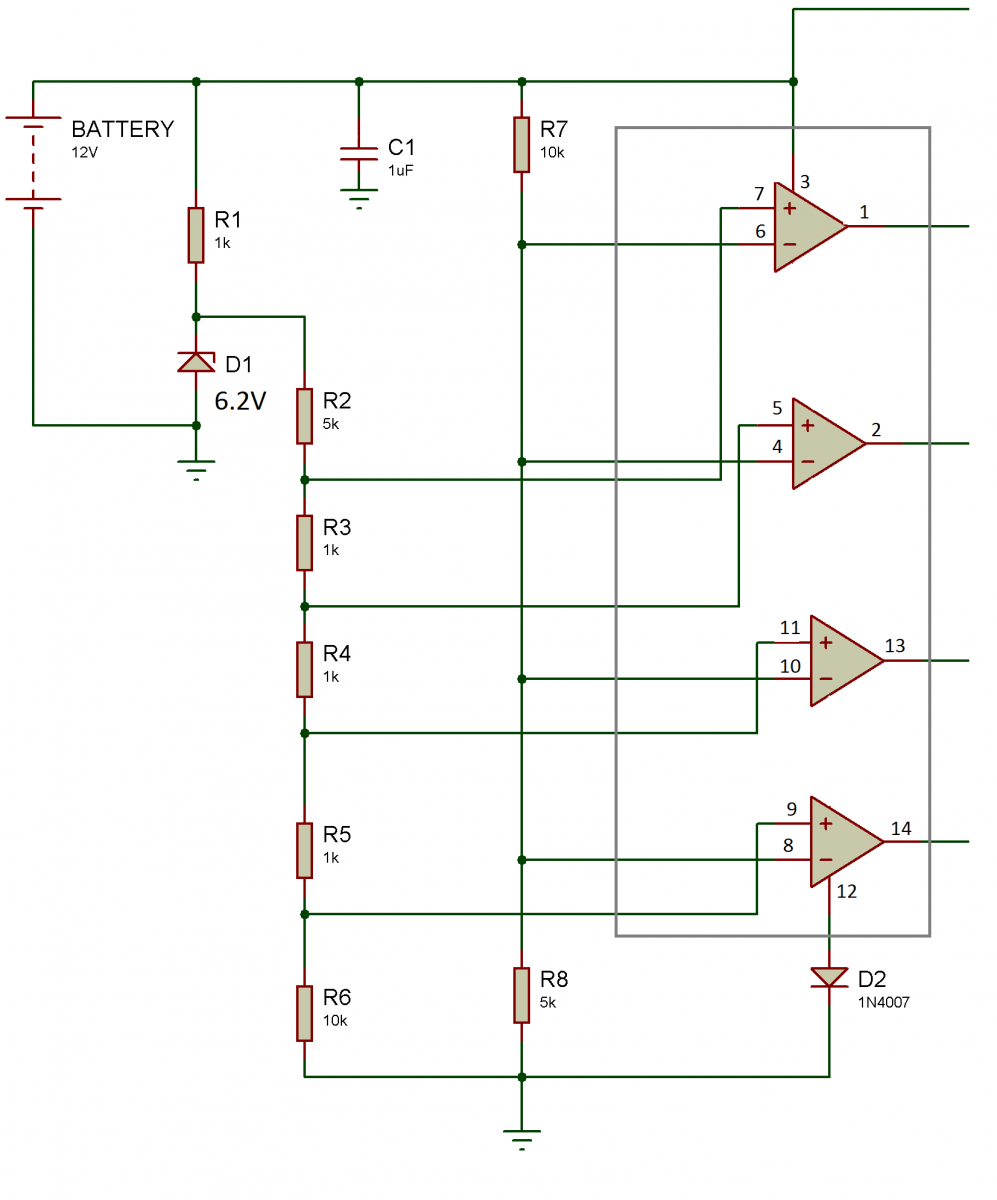 Make A Battery Level Indicator Using Lm339 Ic Engineersgarage Water Electronic Circuit That Uses 7segment Display Connections Of For