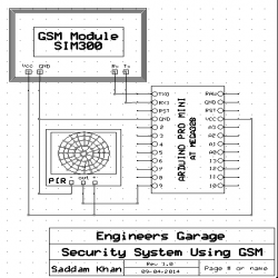 Circuit Diagram of Arduino and PIR Sensor based Home Security System