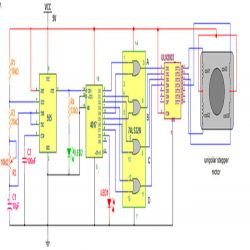 stepper motor driver using 555 timer: circuit diagram