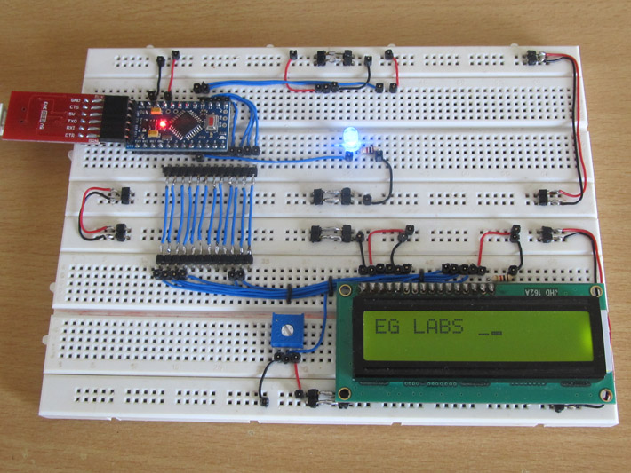 Custom Characters Created In Project On LCD Using Arduino Circuit Setup On Breadboard