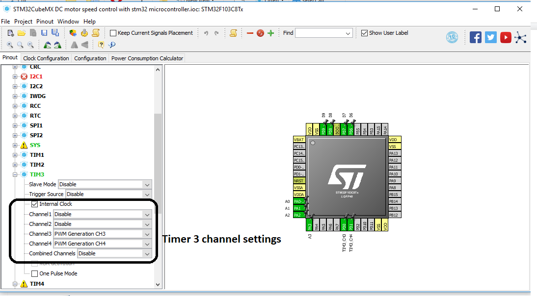 Stm32 timer 3 pwm channel settings in stm32cubemx