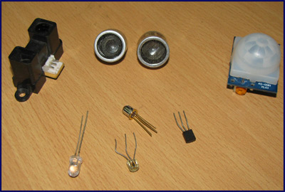An image of commonly used sensors