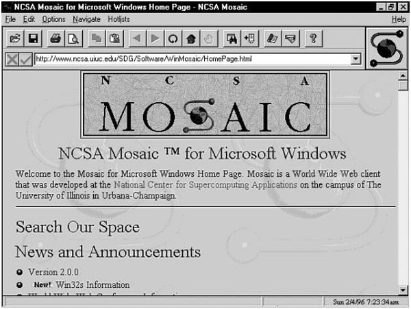 An Image Of First Major Browser 'Mosaic' Launched in 1993 By Marc Andreessen and Eric Bina