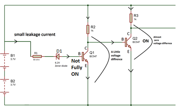 Circuit Diagram showing Practical High Side Switch Working of Battery Over Discharge Protection