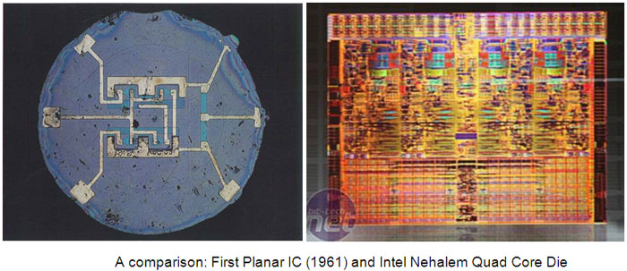 Image showing Comparison of First Planar IC And Intel Nehleam Quad Core Die
