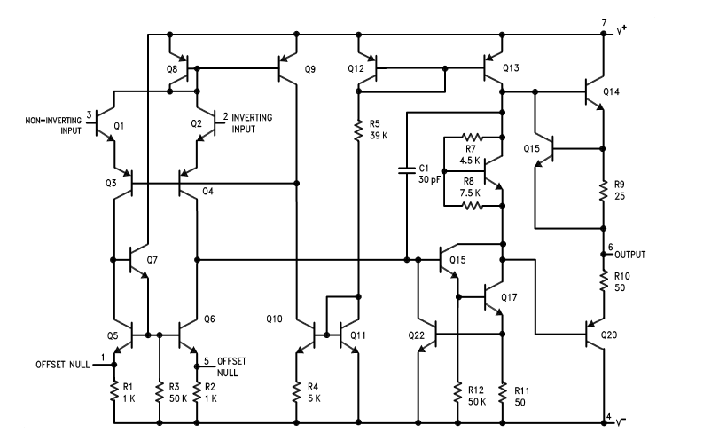 Internal Circuit Diagram of LM741 Operational Amplifier IC
