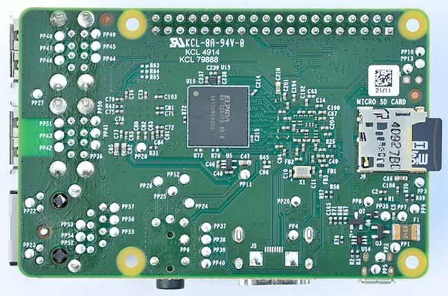 Typical Image of Raspberry Pi 3 MicroSD Card Slot